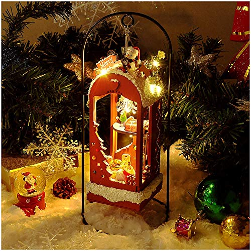 MEILINL DIY Christmas Miniature Dollhouse Kit Realistic Mini 3D Wooden House Room Craft with Furniture LED Lights Puzzle Building Toys Gift Colorful
