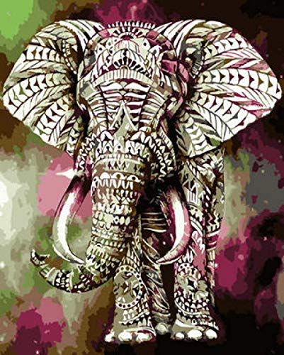 NA Paint by Numbers DIY Oil Painting Handmade Crafts Kit for Kids and Adults Number Drawing Contest-Aurora Elephant 16×20 inch Without Frame