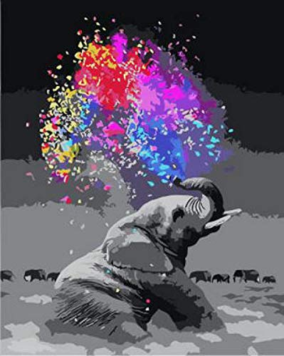 NA Paint by Numbers DIY Oil Painting Handmade Crafts Kit for Kids and Adults Number Drawing Contest-Spray Color Elephant 16×20 inch Without Frame