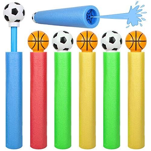 PROLOSO 6 Pcs Water Guns Water Blaster Set Basketball Soccer Soaker Toys Foam Pool