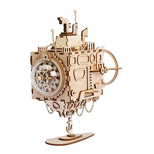 ZJH 3D Assembled Puzzles to Create Your Own Wooden Music Box Craft Kit Educational Decompression Toys for Children and Adults Submarine