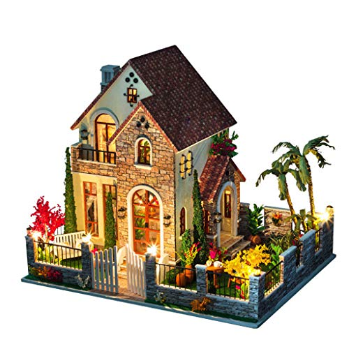 JLCP DIY Miniature Dollhouse KitsWooden Handmade Craft Kits with Furniture LED Music Box Best Gifts for Women and Girls