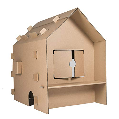 JLCP Rural House Cardboard Playhouse Indoor Colouring Play Toys Easy to Assemble DIY Painting Kids Graffiti Grocery Store