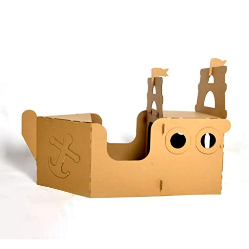 JLCP Cardboard Playhouse for Kids Colouring Play House Made from Strong and Durable Playing Game Foldable Outdoor Toys Pirate Ship