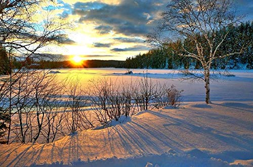 VTDOUQ DIY Painting by Numbers Kits Drawing Art Crafts Decoration for Home Acrylic Kit Canvas Oil Painting-Snow Sunset 16×20 Inch