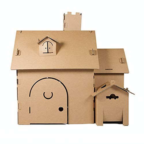 JLCP Playhouse for Kids Outdoor Colouring Play Toys House with Windows and openable Door DIY Graffiti Made of Cardboard Easy to Assemble