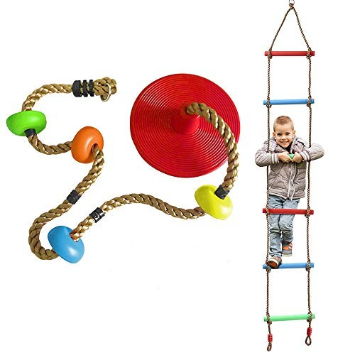 Rainbow Kids Tree Swing Climbing Rope with Foot Disc Platforms Seat Colorful Climbing Rope
