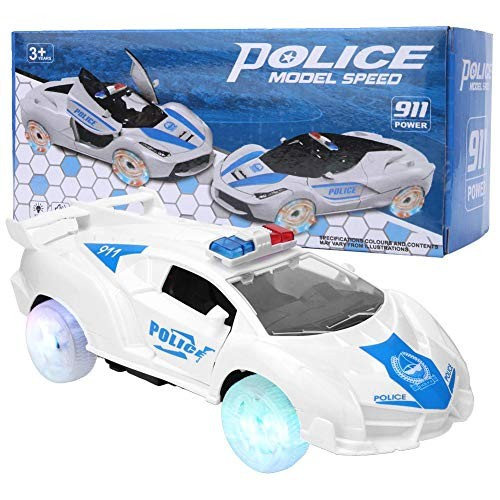 Tbest Music Car Toy Kids Light Music High Simulation Universal Wheel Auto Opening Police