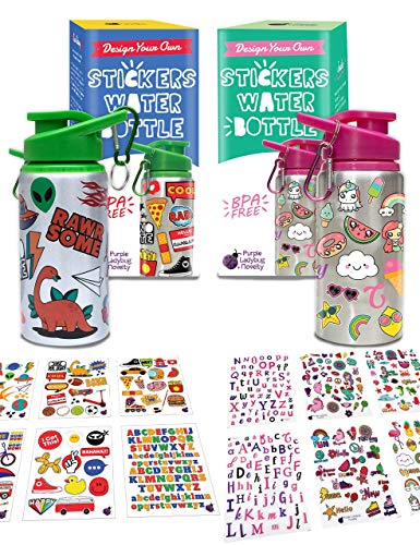 Purple Ladybug Two Decorate Your Own Water Bottles for Girls & Boys Combo Set BPA Free Kids Bottle Craft Kits with 6 Sheets Each of On-Trend Stickers Cool Gift Idea Fun Activity Children