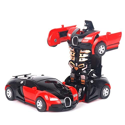 CROWNXZQ Toy Car Robotfor Children Sport Racing Vehicles with One Button Deformation 6-18 Year