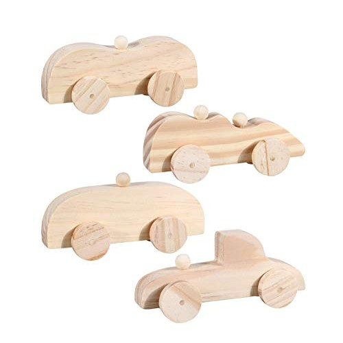 DT Wooden Toy Cars for Kids to Paint – Set of 4 Vehicles: 2