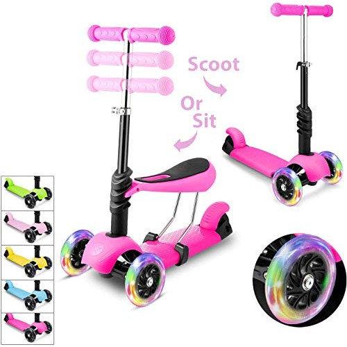 WeSkate Scooter for KidsScooters for Toddlers Girls & BoysRemovable Seat & Adjustable HeightDesign for
