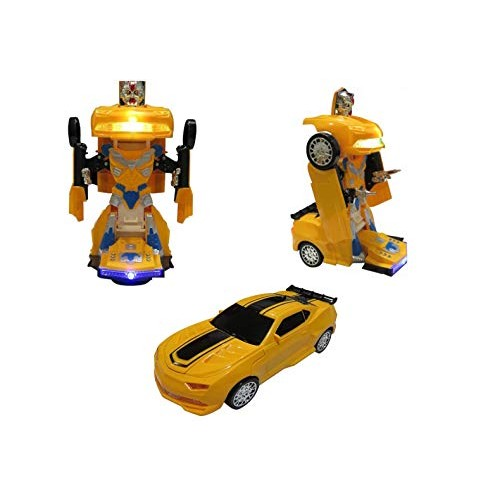 Bump and Go Action Battery Operated Transforming Toys for Kids- Two in One Robot