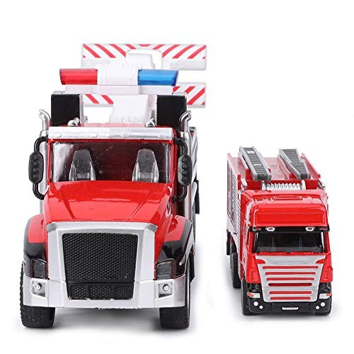 Zerodis Trailer Truck Toys Highly Simulation Pull Back Vehicle Model Rescue Car Vehicle Toy