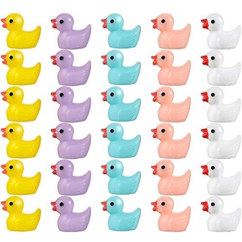 50 Pieces Decoration Ducks 5 Colors Miniature Ducks Little Duck Ornament Mini Duck Figures