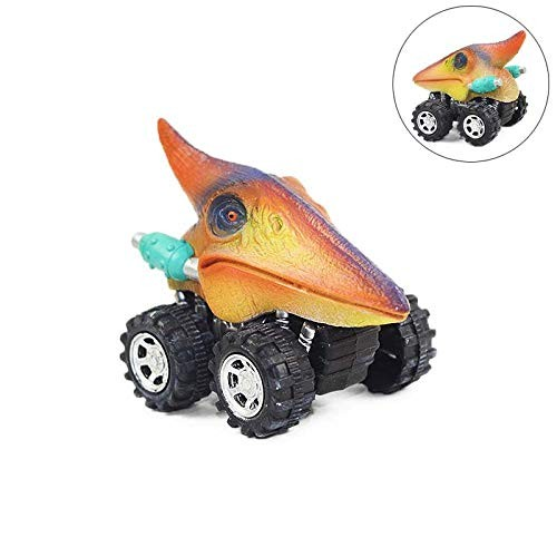 Six Mini Toy Back Cars with Dinosaur Tyrannosaurus Tatarsaurus Triceratops Pterosaurs and Spinosaurs Pterosauria
