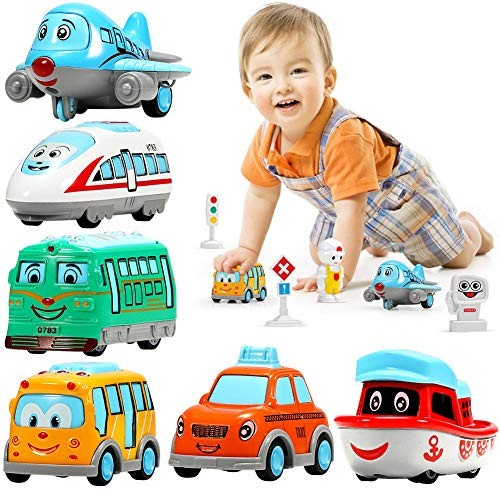 Geyiie Kids Toys Cars for Toddler Baby Bus Toys  Cartoon Toy Cars