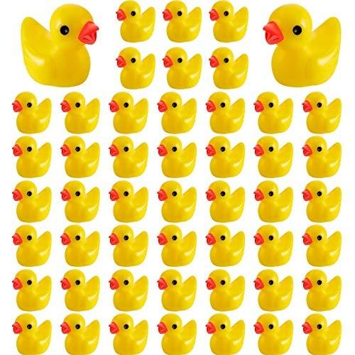 100 Pieces Mini Resin Slime Charms Duck Yellow Miniature Duck Figures Micro Fairy Garden