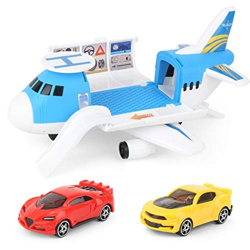 Coxeer Transport Cargo Airplane Car Toy Play Set Interactive DIY Educational Vehicle Plane Toy