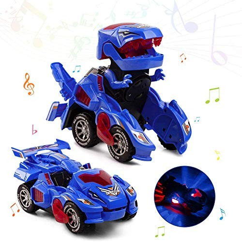 DUOUH Dinosaur Car Toys Automatic Deformation Dinosaur Car with Flashing Lights and Sound for