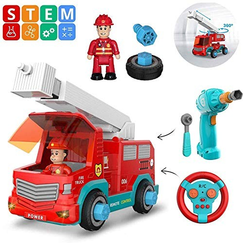 FQMAO Vehicle Construction Toys Build Your Own Remote Control Car Toy Fire Truck STEM