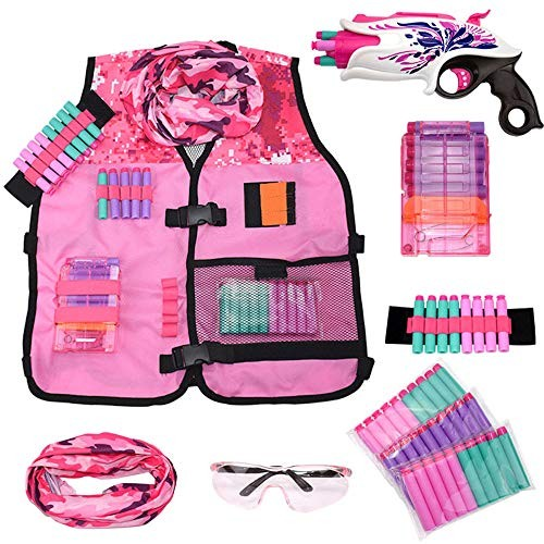 Girls Pink Tactical Vest Set with Gun for Nerf Rebelle and N-Strike Elite Series