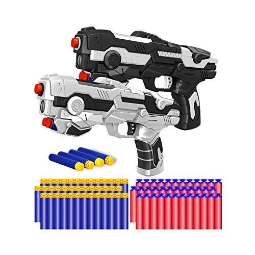 Kitoyz 2 Pack Blaster Toy Guns Darts Gun for Boys Kids LED Gun Toys