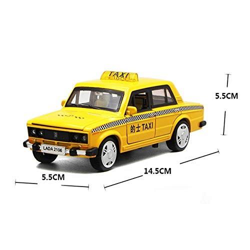 Shuohu 1:32 Alloy Taxi Car Action Figure ModelPull Back LED Car ToyMusic Table Ornament