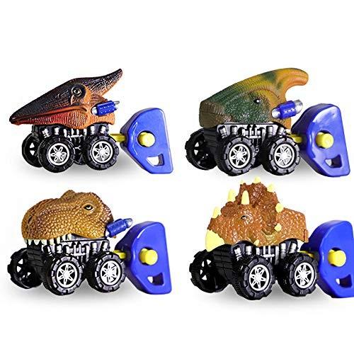 WORKER Dinosaur Toys Monster Trucks Vehicles New Mini Catapult Toy Car 4Pack Assorted Mini