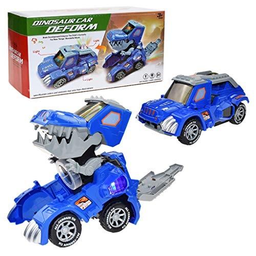 CreazyBee Dinosaur Cars Transforming ToysDinosaur LED Car with Light Music Kids ToyDinosaur Cars Combined