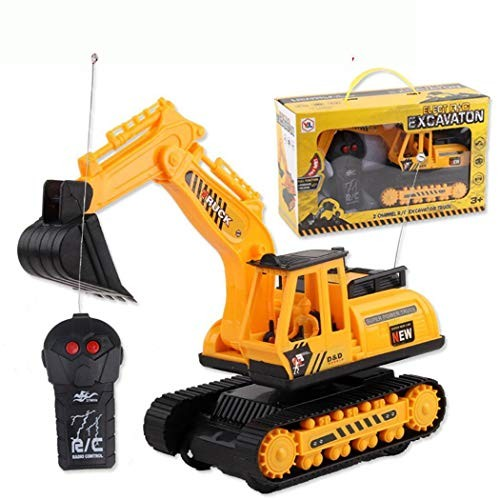 Foshin Car Excavator Kids Toy Crawler Digger Electric 2 Channel Remote Control Activity Play