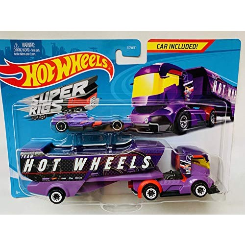 HW 2020 SuperRigs Big Rig Heat Purple Detachable Trailer and car