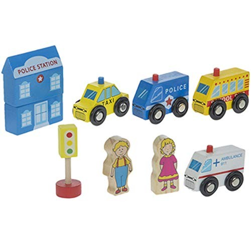 Wisechoice 10 Pieces of Pretend Play City Wood Gift Sets Includes Buildings Boy Girl