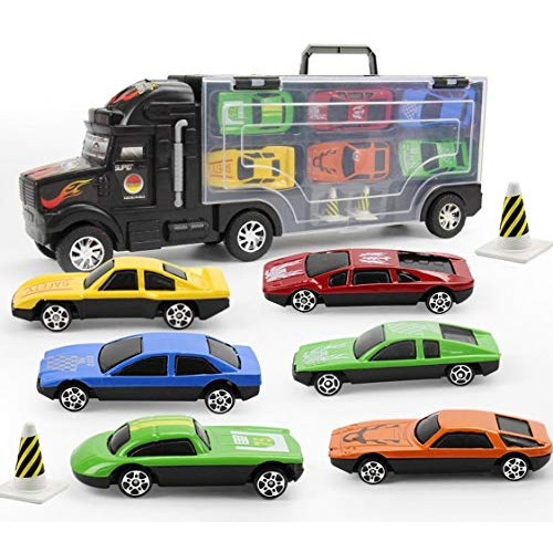 Mini Child Model Container Truck Simulation car Toy car with 6 Alloy car boy