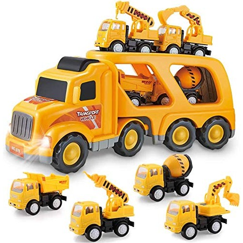 PCtech Construction Truck Set with Sound and Light Play Vehicles in Friction Powered Carrier