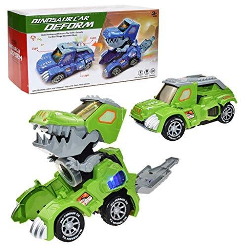 New Transformer Dinosaur Car with Light Music 360 Rotation Stunt Car Toy Gift (Green)