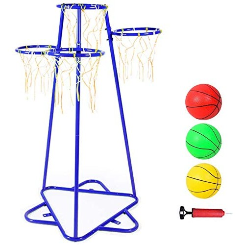 Anditt Kids Basketball Hoop Portable Basketball Stand with 4 Hoops at Varying Heights and