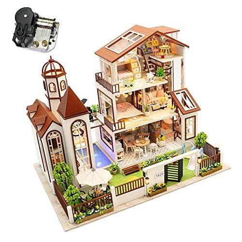 DIY Dollhouse Miniature Kit with Music and Led Lights Large Duplex Garden Villa Dolls