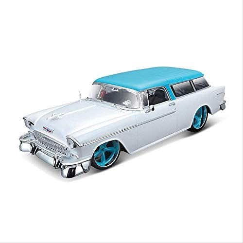 Logo Simulation Alloy Vintage Car Model Toy for 1955 Chevrolet with Steering Wheel Control