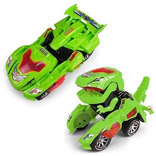 Zhangl 2 in 1 Transforming Dinosaur LED Car 4WD Transforming Toys Dinosaur Transform Car