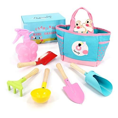Hortem Kids Garden Tools Set 9 PCS Children Gardening Gifts Include Color Toddler Hand
