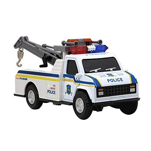 1/28 Plastic Rescue Police Car Cranes with SoundPull Back Light Sound Car Model Toy