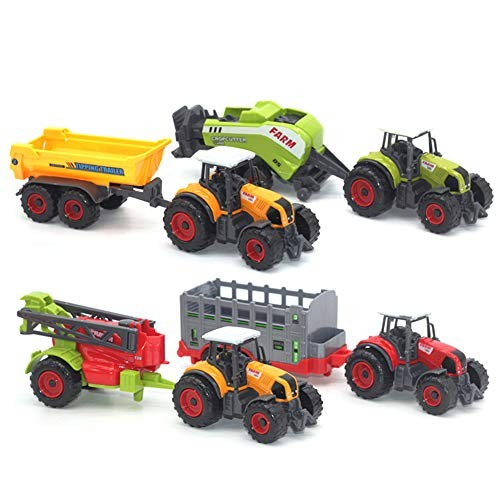 Shuohu Mini Diecast Farm Tractor Action Figure ToyVehicle Car Carriage Model Set Kids Collection