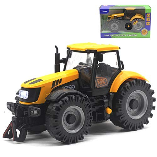 1/28 Diecast Engineering Tractor Action Figure ToyFarm Sliding Car with LED Sound for Kids
