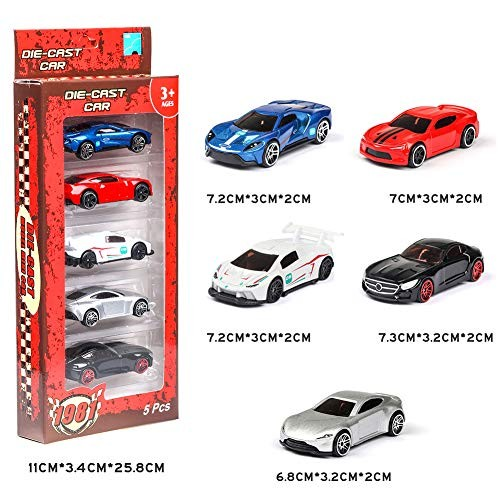 Anonyme 5PCS 1:64 Simulated Children Toy Multi-Style Taxiing Alloy Mini Car Model A