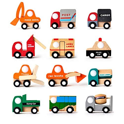 Friction Powered Cars Kids Mini Vehicles Toy Multi-Pattern Creative Wooden Car Model Baby Kids
