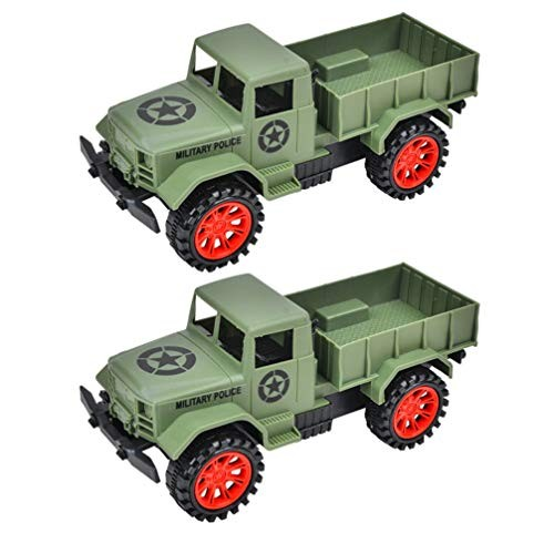 NUOBESTY 2Pcs Inertia Truck Friction Powered Car Toy Kids Truck Model Toy Educational Toy