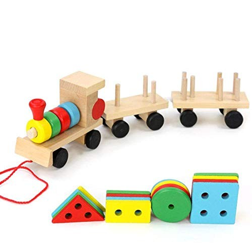 Friction Powered Cars Small Wooden Train and Dragging Three Carriage Geometric Shape Matching Early
