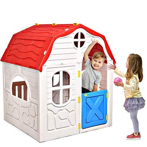 HONEY JOY Kids Outdoor Playhouse Cottage Foldable Playhouse with Working Doors & Windows Indoor