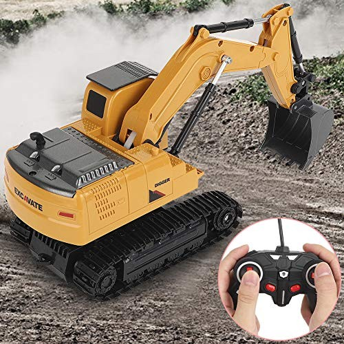 wosume Excavator Toy uilding Play Set6CH Remote Control Engineering Car Model 1/24 Scale Simulation